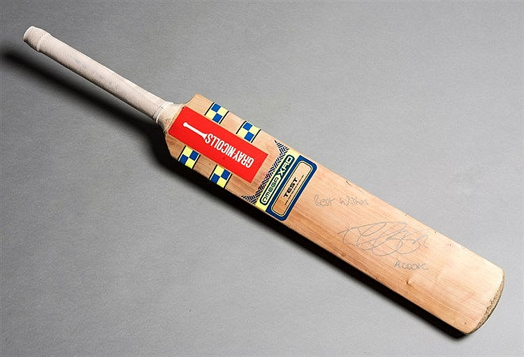 Alistair Cook match-used cricket bat, a Gray-Nicolls Omega XRD, Slate