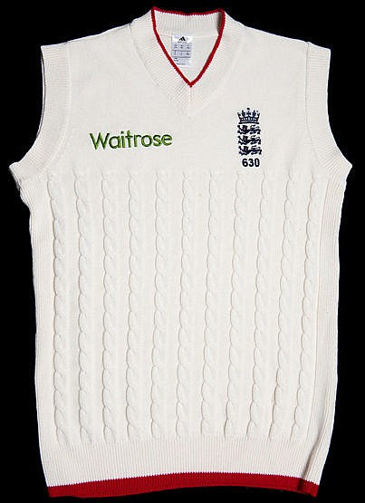 Alistair Cook England sleeveless cricket sweater,  emblem, inscribed 6