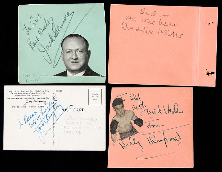 A group of boxing autographs,  on pages removed from albums, subjects