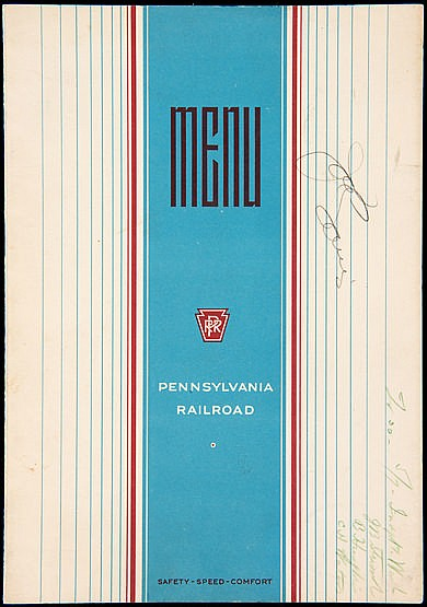 Joe Louis signed Pennsylvania Railroad dining car menu, signed to the