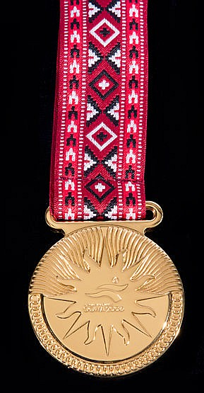Doha 2006 Asian Games cased gold winner's medal,  with ribbon suspensi