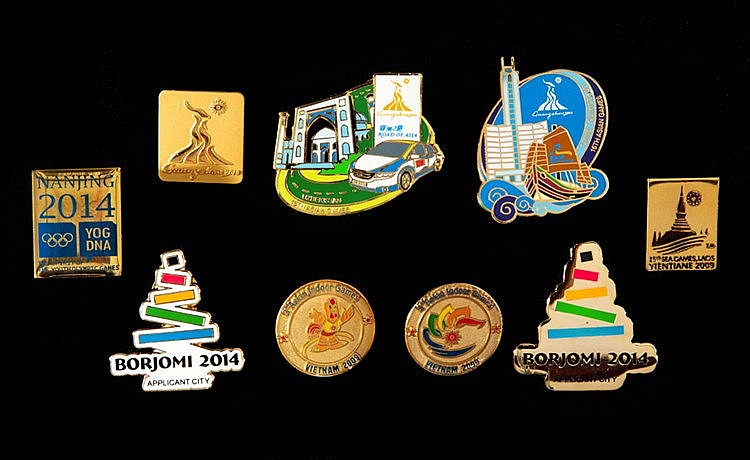 A collection of Asian Games and Olympic Outh Games pin badges,  6 x Do