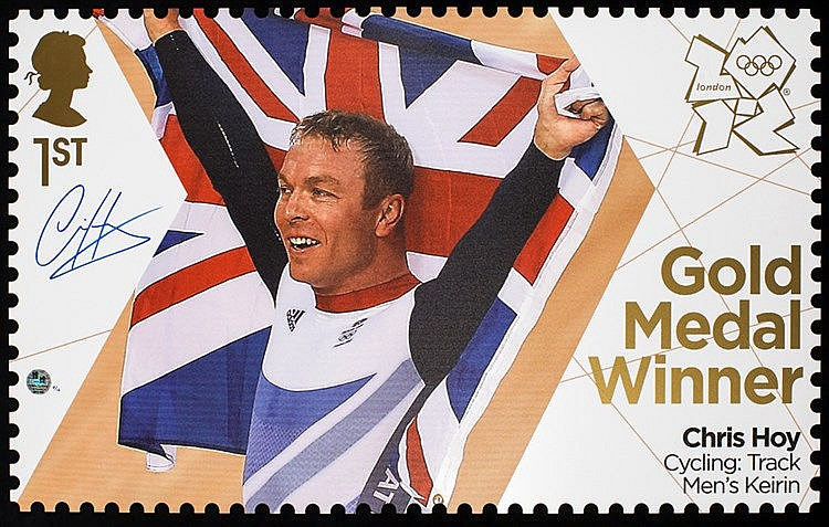 Chris Hoy & Bradley Wiggins signed Gold Medal Winner postage stamp enl