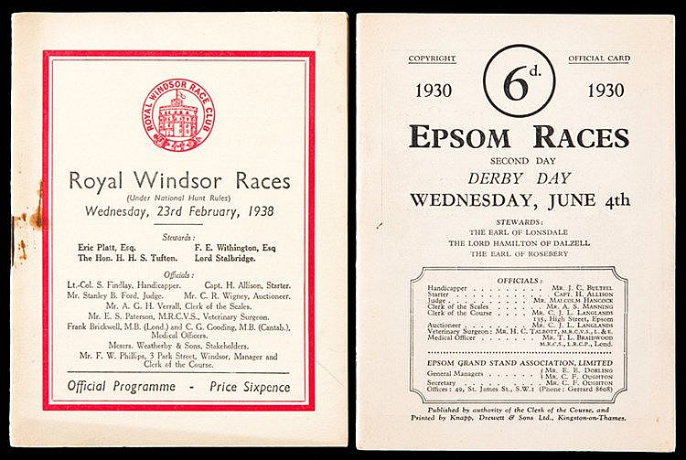 Racecard for the 1930 Derby won by The Aga Khan's Blenheim,  sold toge