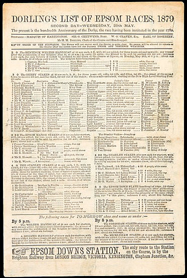 1879 Derby racecard,  Dorling's List of Epsom Races Won by Lionel de R