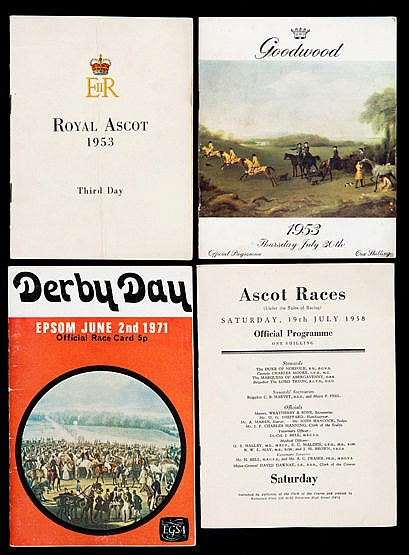 A collection of racecards, highlights are Royal Ascot, Glorious Goodw