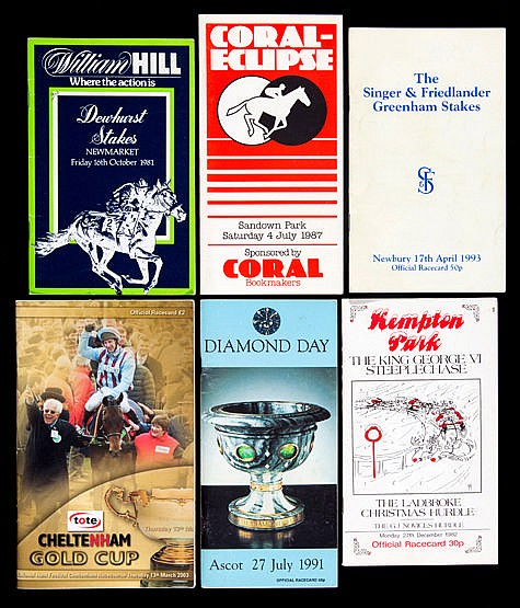 A collection of 218 racecards dating from the 1970s onwards,  Ascot x