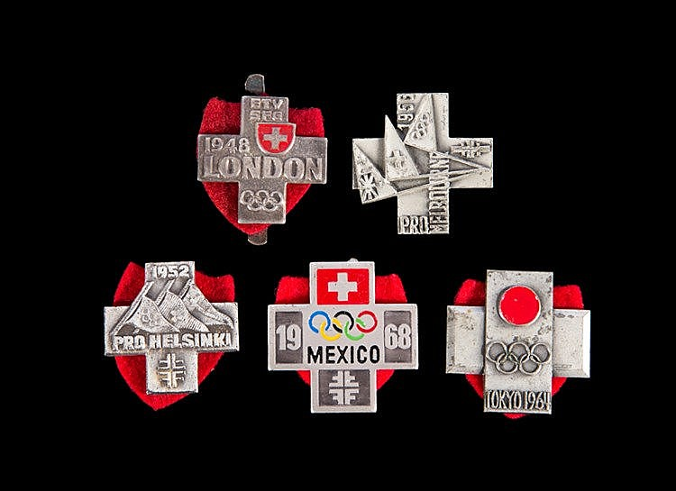 A group of five Swiss Olympic gymnastics team badges,  for 1948, 1952,