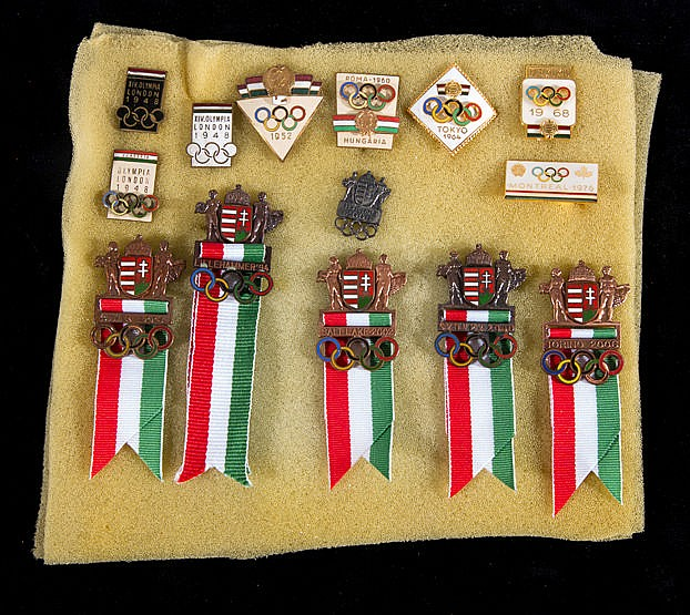 A group of Hungarian Olympic Team badges dating between 1948 and 2010.