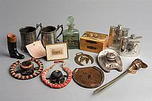 Miscellany of racing themed objects,  two metal tankards, glass perfum