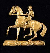 A Regency period gilded brass racehorse & jockey,  mounted on velvet w