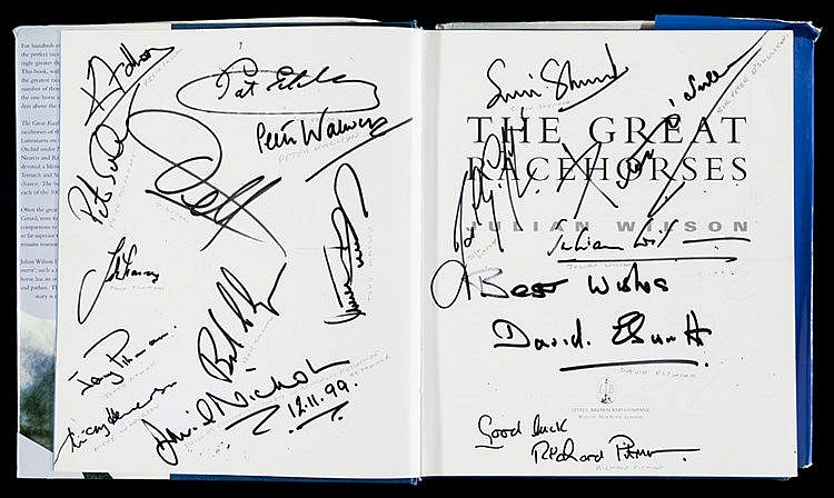 Multi-signed copy of Julian Wilson's book The Great Racehorses,  conta