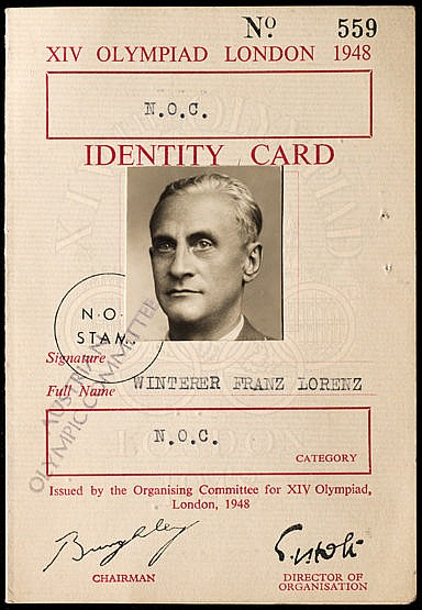 London 1948 Olympic Games identity card, issued to Franz Lorenz Winte