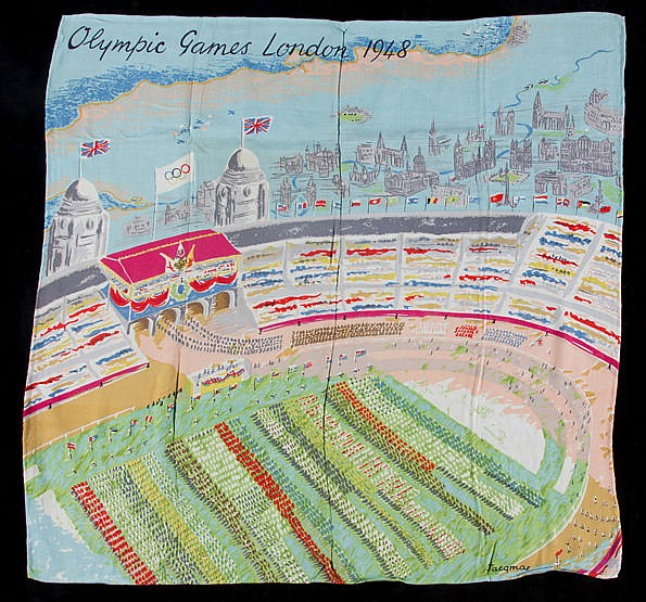 London 1948 Olympic Games ladies scarf, in satinised cotton by Jacqma