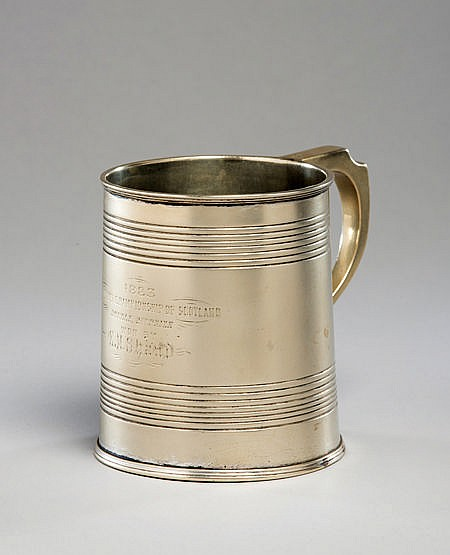 A prize tankard won at the 1883 Scottish National lawn tennis champion