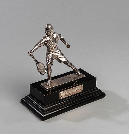 A silver-plated statuette of the British tennis player Bunny Austin,