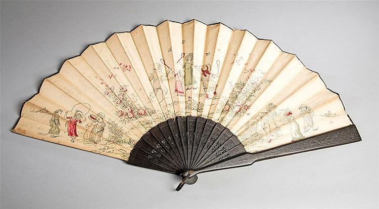 Tennis collectibles,  comprising: a ladies fan decorated with a scene