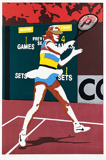 After Warwick Nelson (contemporary)   TEEN TENNIS   an artist's proof