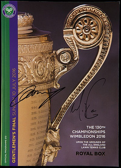 Andy Murray and Milos Raonic double-signed Wimbledon 2016 Men's Final