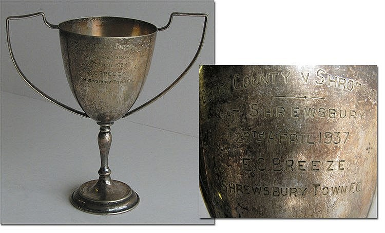 A silver-plated cup presented on the occasion of the Derby County v Sh