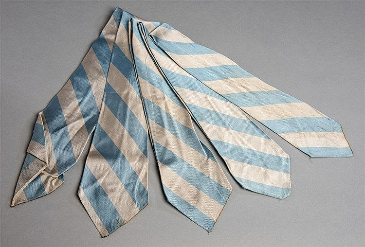 Five pairs of vintage Manchester City FC club-issued neck ties for pla