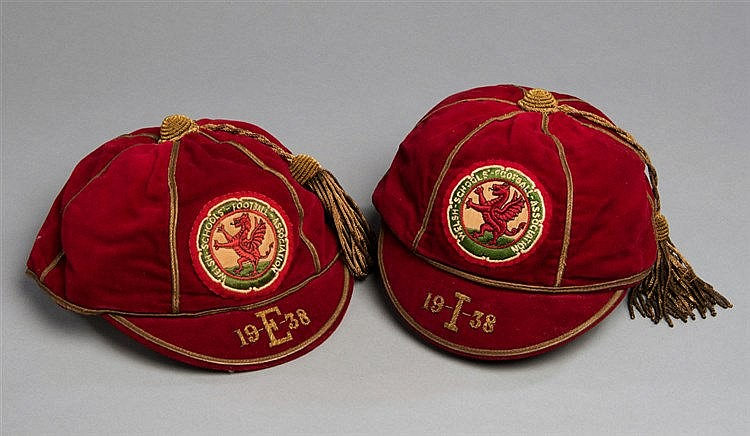 A pair of Wales Schools' International football caps 1938, both red c