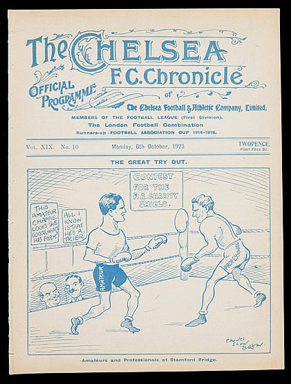 F.A. Charity Shield programme Amateurs v Professionals played at Stamf