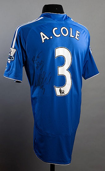 Ashley Cole signed blue Chelsea No.3 jersey season 2007-08,  short-sle