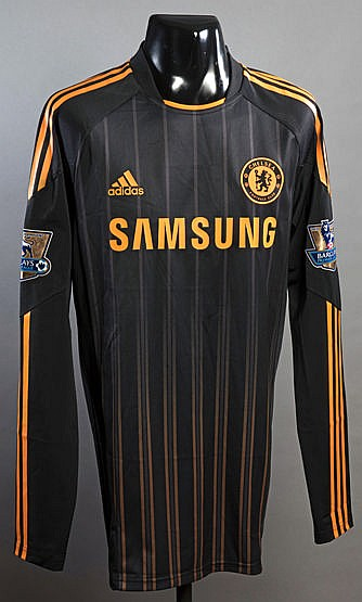 Didier Drogba black and orange Chelsea No.11 away jersey season 2010-1
