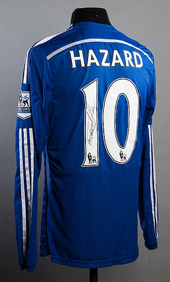 Eden Hazard signed blue Chelsea No.10 jersey from the 2014-15 Champion