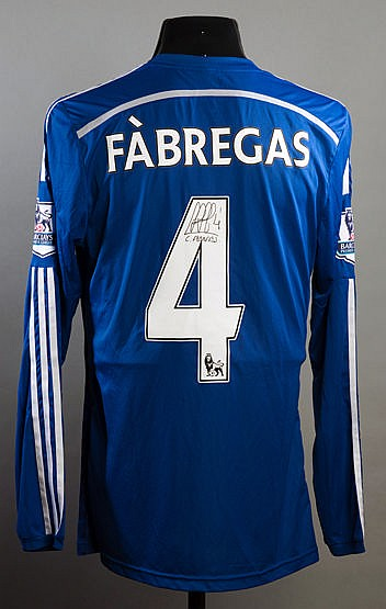 Cesc Fabregas signed blue Chelsea No.4 jersey from the 2014-15 Champio
