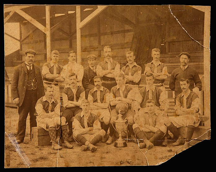 A rare sepia-toned photograph of the Fulham team season 1901-02, frag