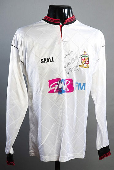 Glenn Hoddle signed white Swindon Town No.12 substitute's jersey 1992,