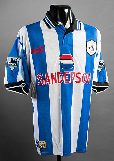 Paolo Di Canio blue & white striped Sheffield Wednesday No.11 jersey s