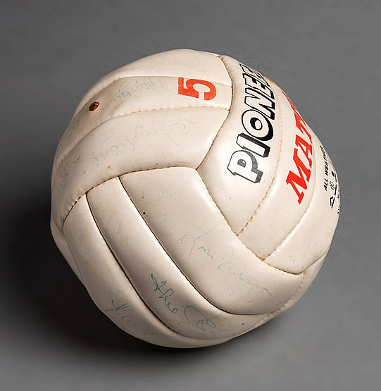 A Pioneer white leather football formerly owned by Geoff Hurst and bea