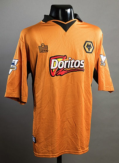 Denis Irwin gold Wolverhampton Wanderers No.2 jersey season 2003-04,