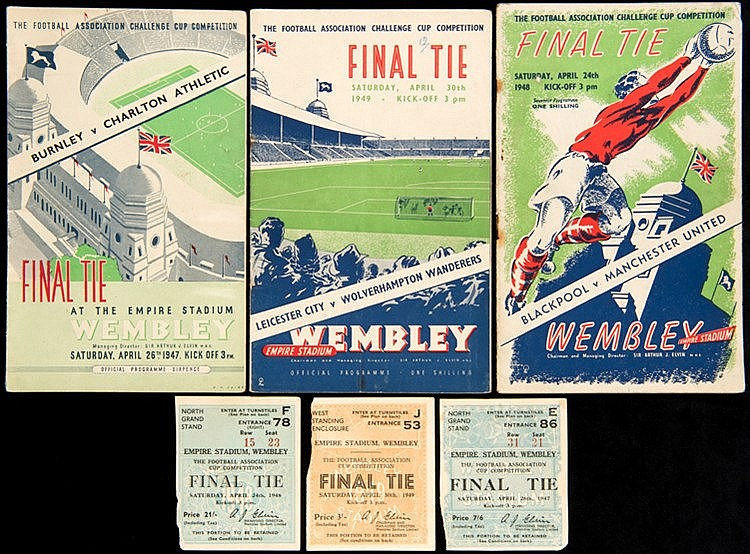 Programmes and ticket stubs for the 1947, 1948 & 1949 F.A. Cup Finals,