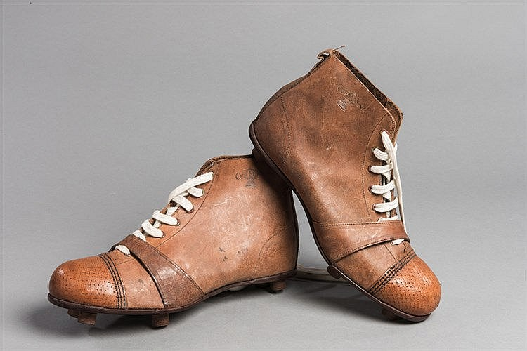 A pair of vintage 'Cup Final' football boots circa 1920,  in unused co