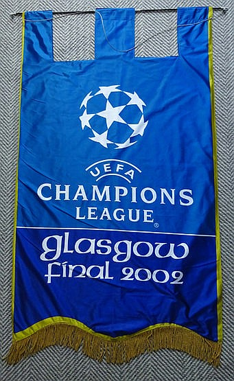 Large official UEFA 2002 Champions League Final stadium banner for Rea