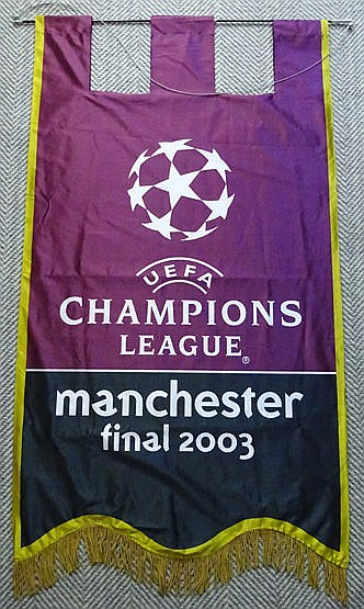 Large official UEFA 2003 Champions League Final stadium banner for AC