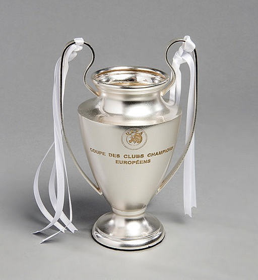 A Real Madrid player's trophy for the UEFA Champions League, in the f