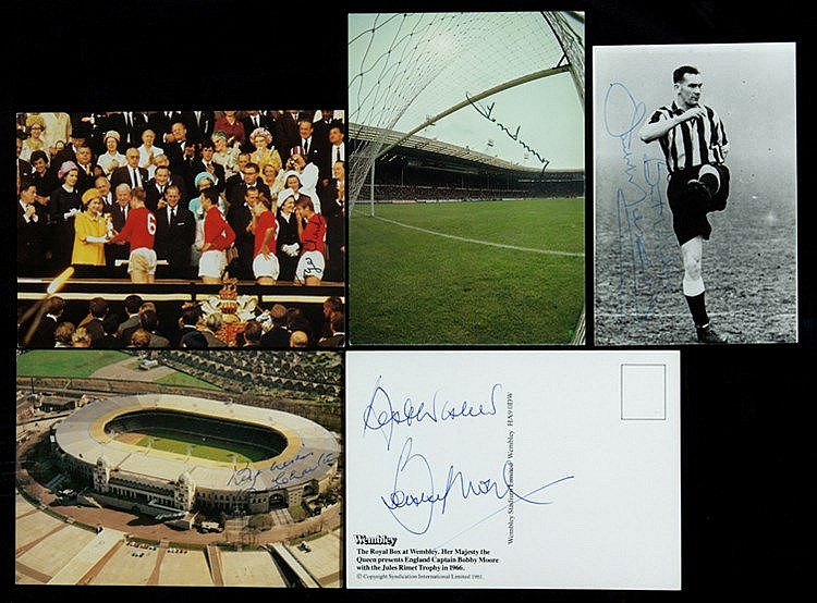 12 signed football postcards, including England 1966 World Cup winnin