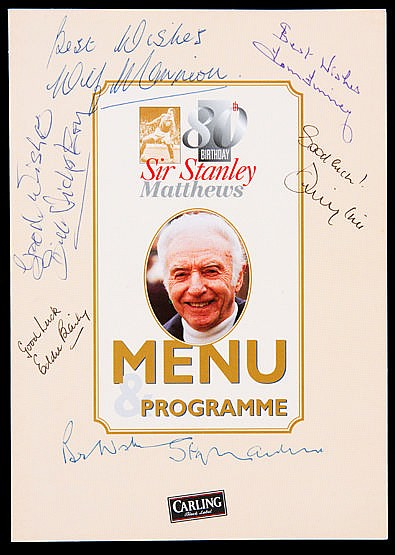 Autographed Sir Stanley Matthews 80th birthday programme/menu, the fr
