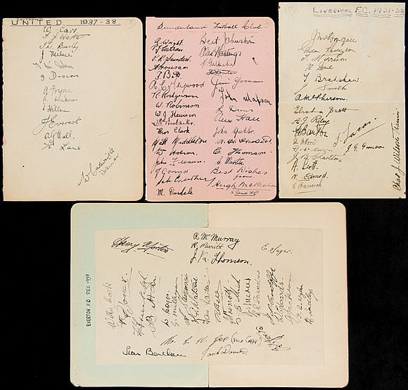 1930s team-group football autographs,  on pages removed from albums, a
