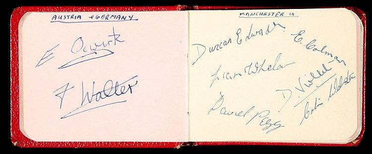 Small autograph book packed with football signatures from the 1950s,