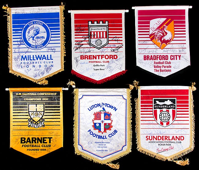Six team-signed football pennants circa 1990,  Barnet (14 autographs,