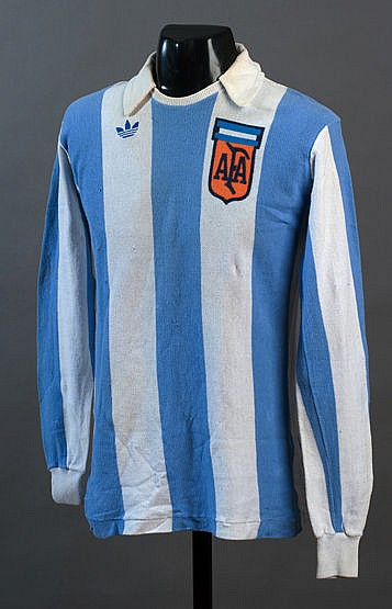 Osvaldo Ardiles: a blue & white striped Argentina No.8 jersey worn in