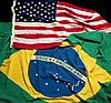 The Brazilian and American flags displayed on the occasion of Pele's f