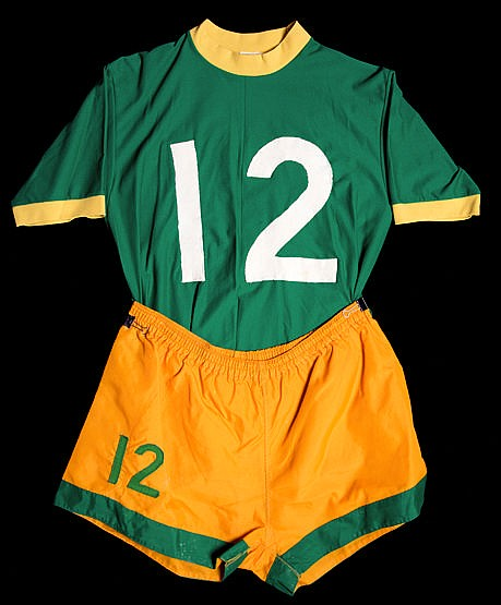 Joey Fink Cosmos No.12 playing kit from the 1973 season, a green shor