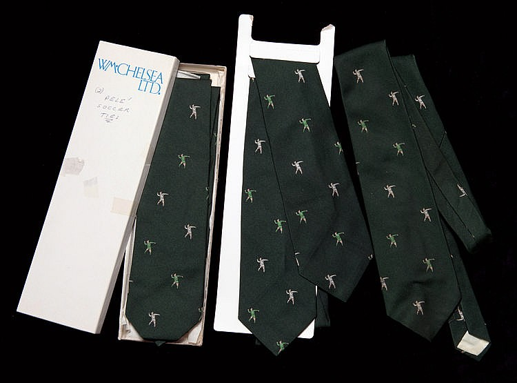 Five New York Cosmos team neck ties issued for the Pele 1977 Farewell